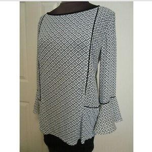 LOFT Bell Sleeve Geometric Blouse
